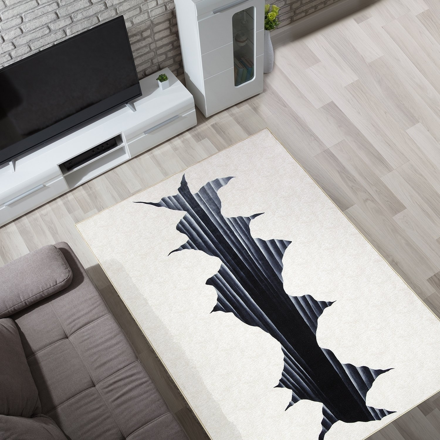 3d Optical Illusion Cracked Hole Non Slip Indoor Outdoor Area Rug
