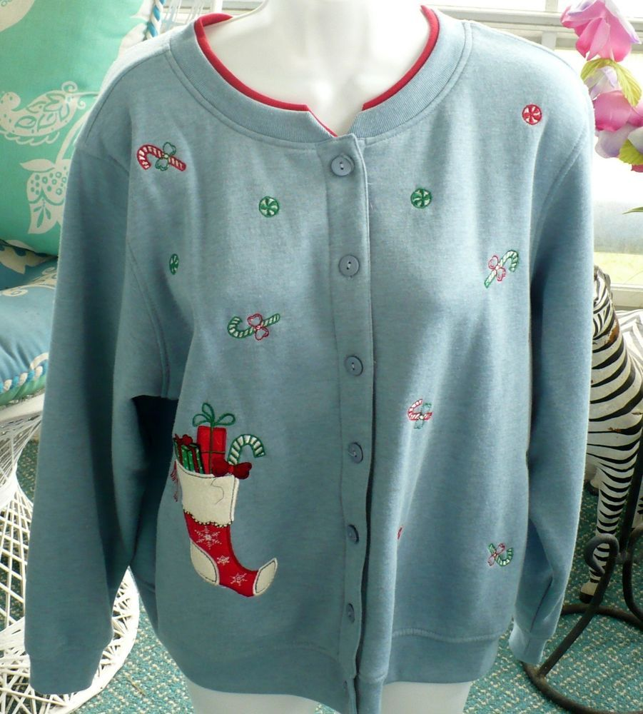 SHENANIGANS Sweatshirt Christmas Stalking Holiday Button ...
