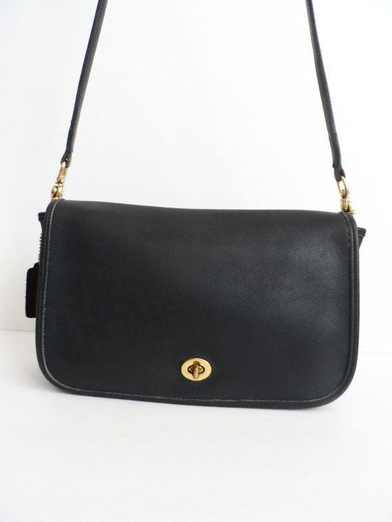 fcc1038bb6 Vintage Coach Leather Purse Navy Blue 80s Coach Handbag Boho Hipster ...