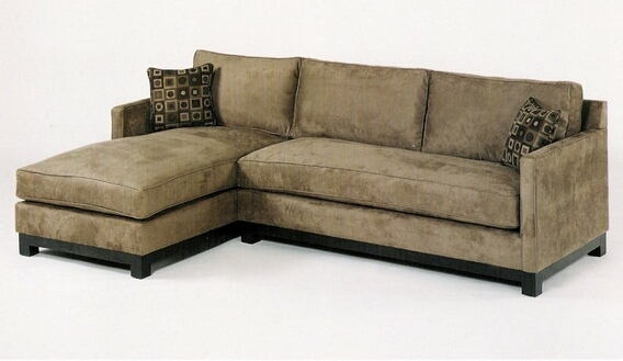2 Pc Custom Sectional With Wood Trim