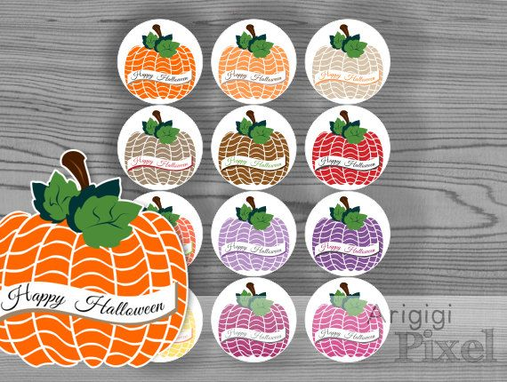 Printable round label, pumpkin, Happy Halloween, DIY sticker, 2,5 in, for party favor, homemade gift, jar decoration, instant download