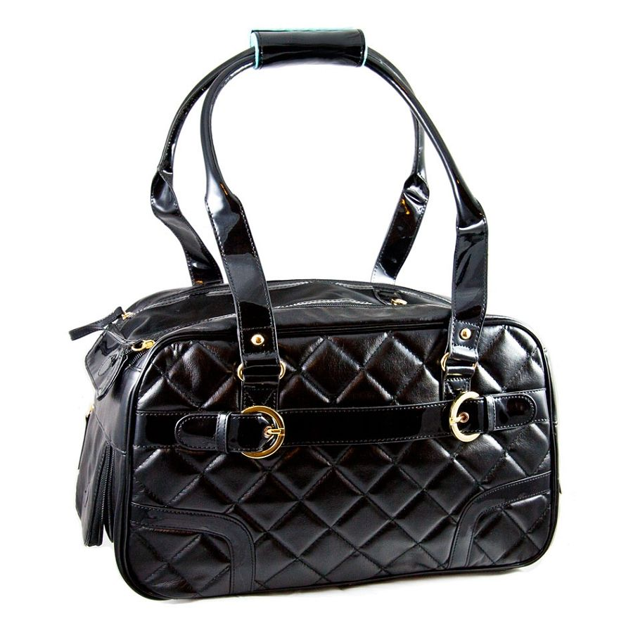 Coco quilted dog carrier black luxury dog carriers at