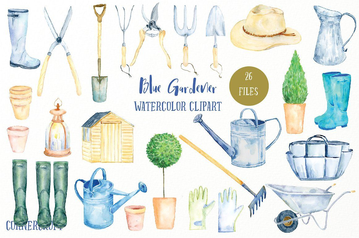 Watercolor Clipart Blue Gardener Watercolor Clipart Watercolor