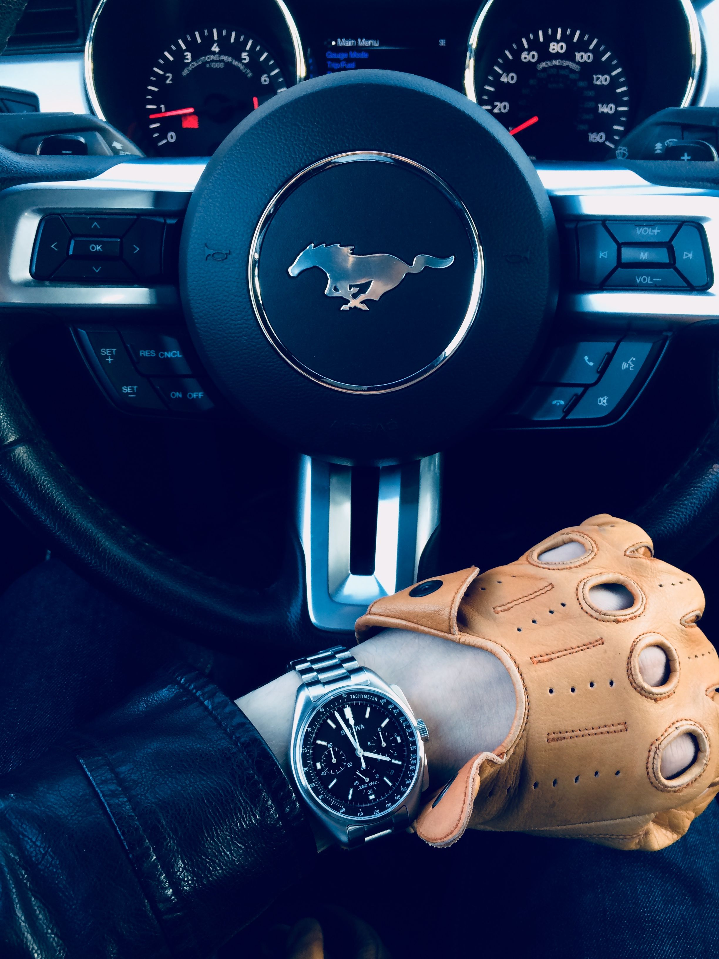 Mustang Bulova Moon Watch Driving Gloves
