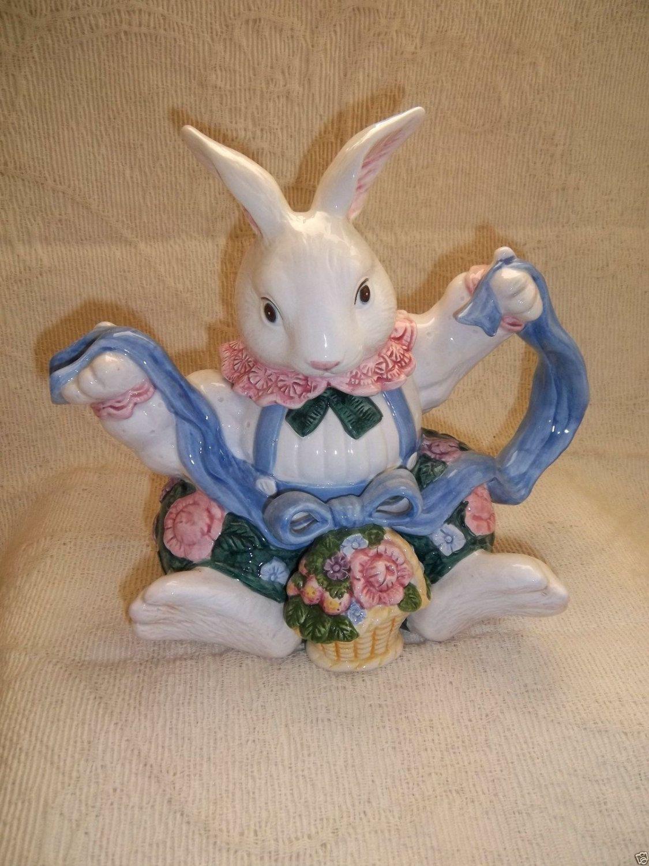 Fitz & Floyd Bloomers Pattern Boy Bunny Rabbit Teapot 1991 Holds 28 Ounces RARE by UrbanVintageChic on Etsy