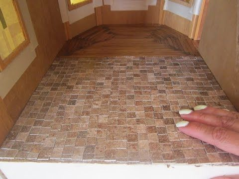 Dollhouse Kitchen Tiles Kitchen Floor For Under One Dollar Youtube Doll House Flooring Dollhouse Kitchen Diy Dollhouse