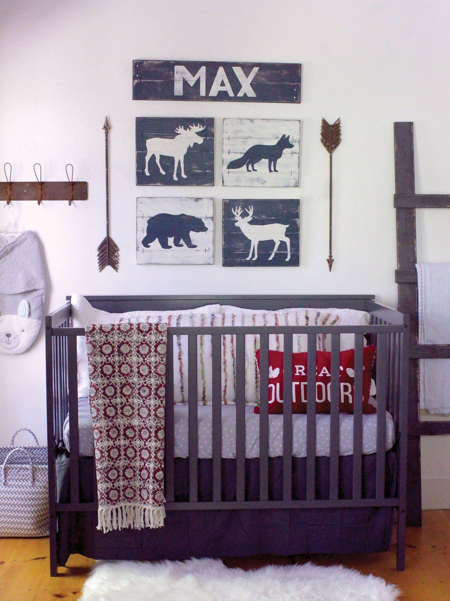 Woodland nursery pcs set rustic boy nursery rustic nursery art