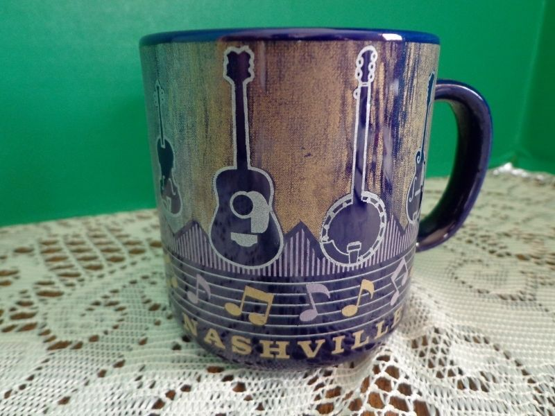Nashville TN Coffee Cup Mug Cobalt Blue Guitars Notes Music#Nashville#Guitar