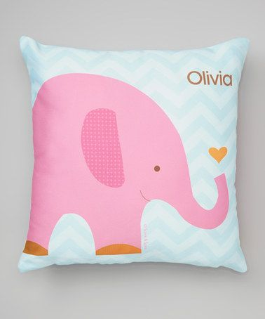 Look what I found on #zulily! Sweet Pink Elephant Personalized Pillow #zulilyfinds