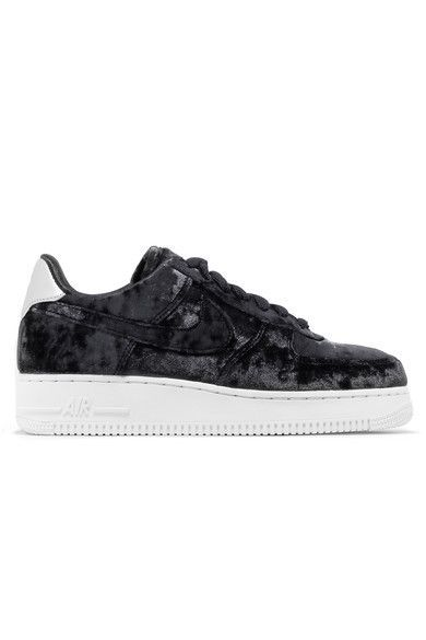 0a06721638d06 NIKE Air Force 1 metallic faux leather-trimmed crushed-velvet sneakers.   nike  shoes
