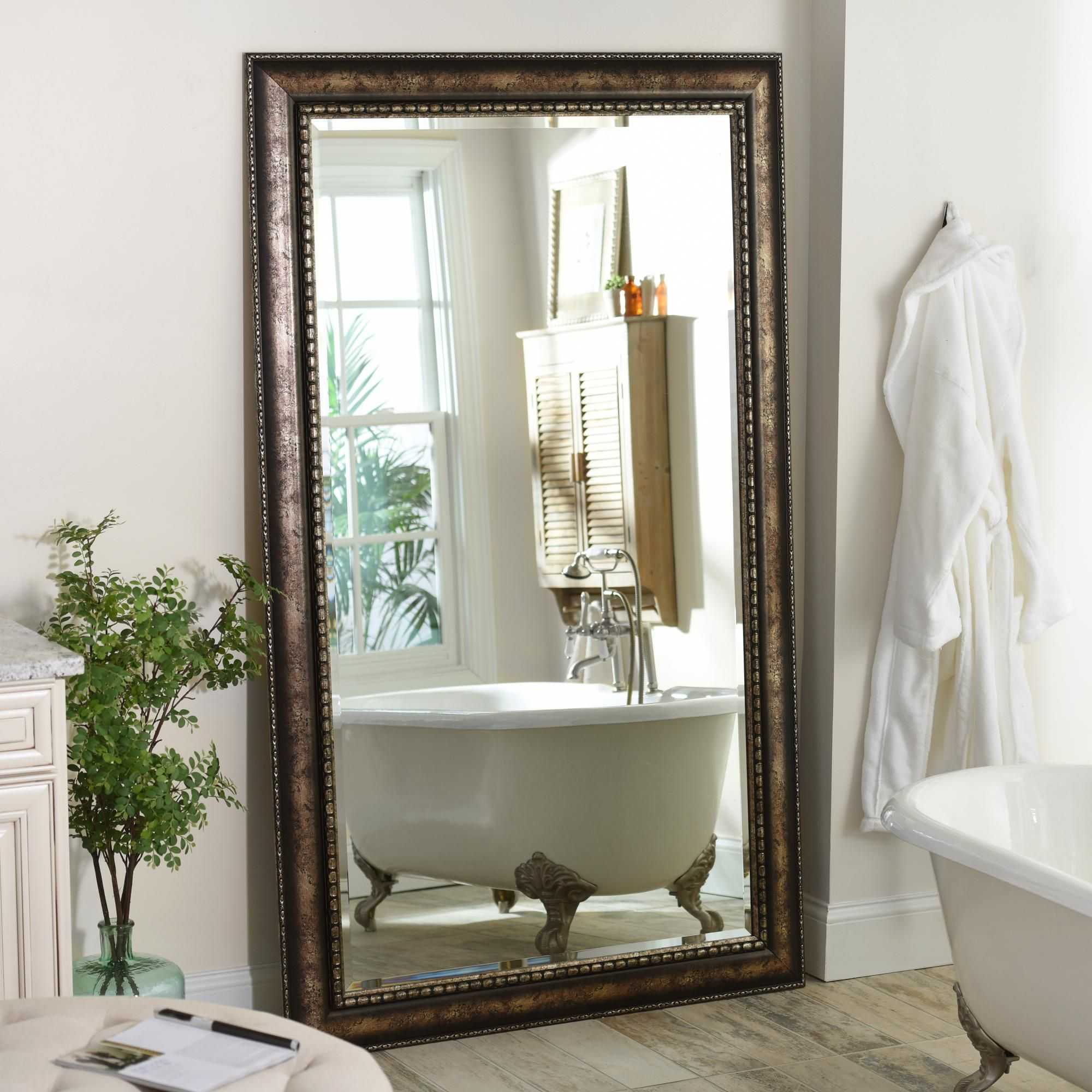 Product Details Antique Silver Leaner Mirror, 46x76 in | Bedroom and Bedding | Leaner mirror ...