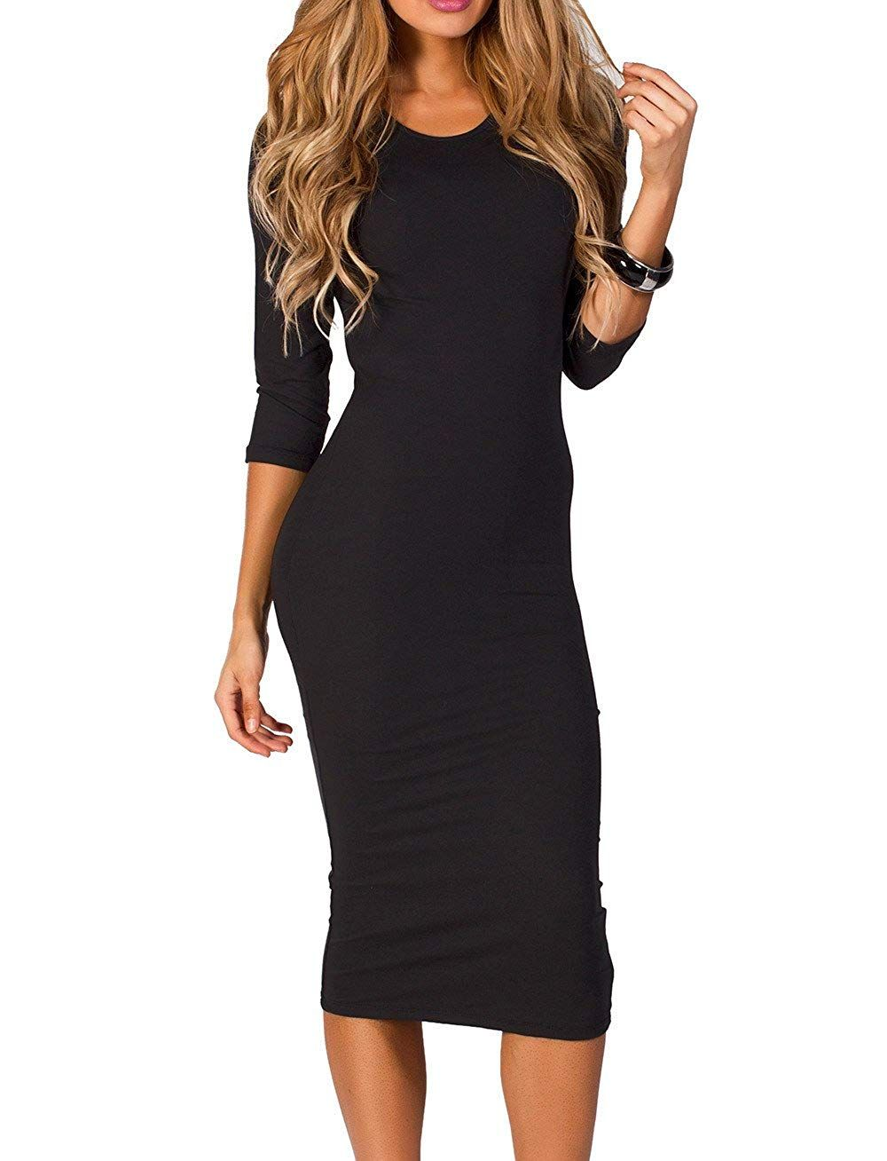 Iconoflash Womens 34 Sleeve Bodycon Midi Dress Xs To 3xl At Amazon Womens Clothing Store Am Midi Dress Bodycon Bodycon Dress With Sleeves Long Sleeve Bodycon [ 1308 x 1000 Pixel ]