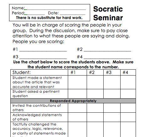 "socratic seminar questions essay example Using the ""socratic seminar"" to improve classroom discussion  the ""socratic seminar"" method is designed to put students in control,  for example, i."