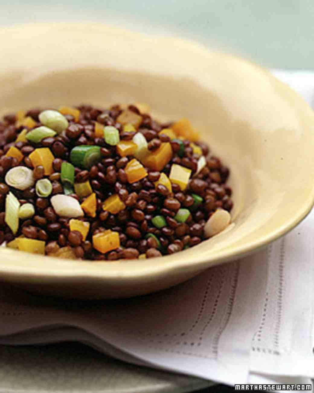 Lentils with Scallions and Peppers