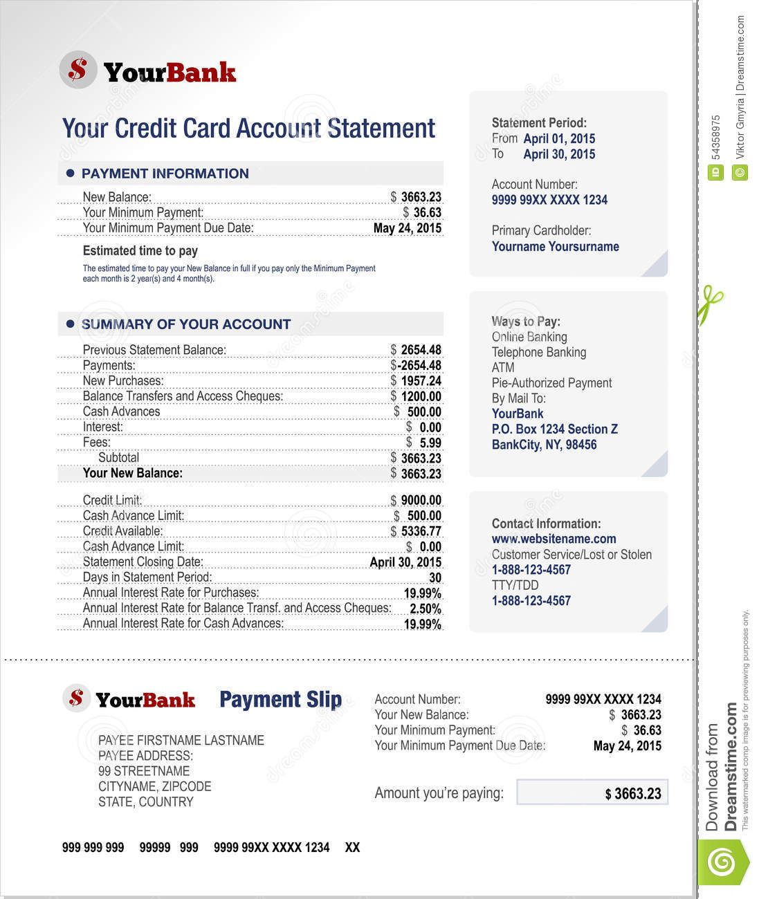 Credit Card Bank Account Statement Template Stock Vector Throughout Credit Card Bill Template Busi Credit Card Statement Statement Template Bank Credit Cards