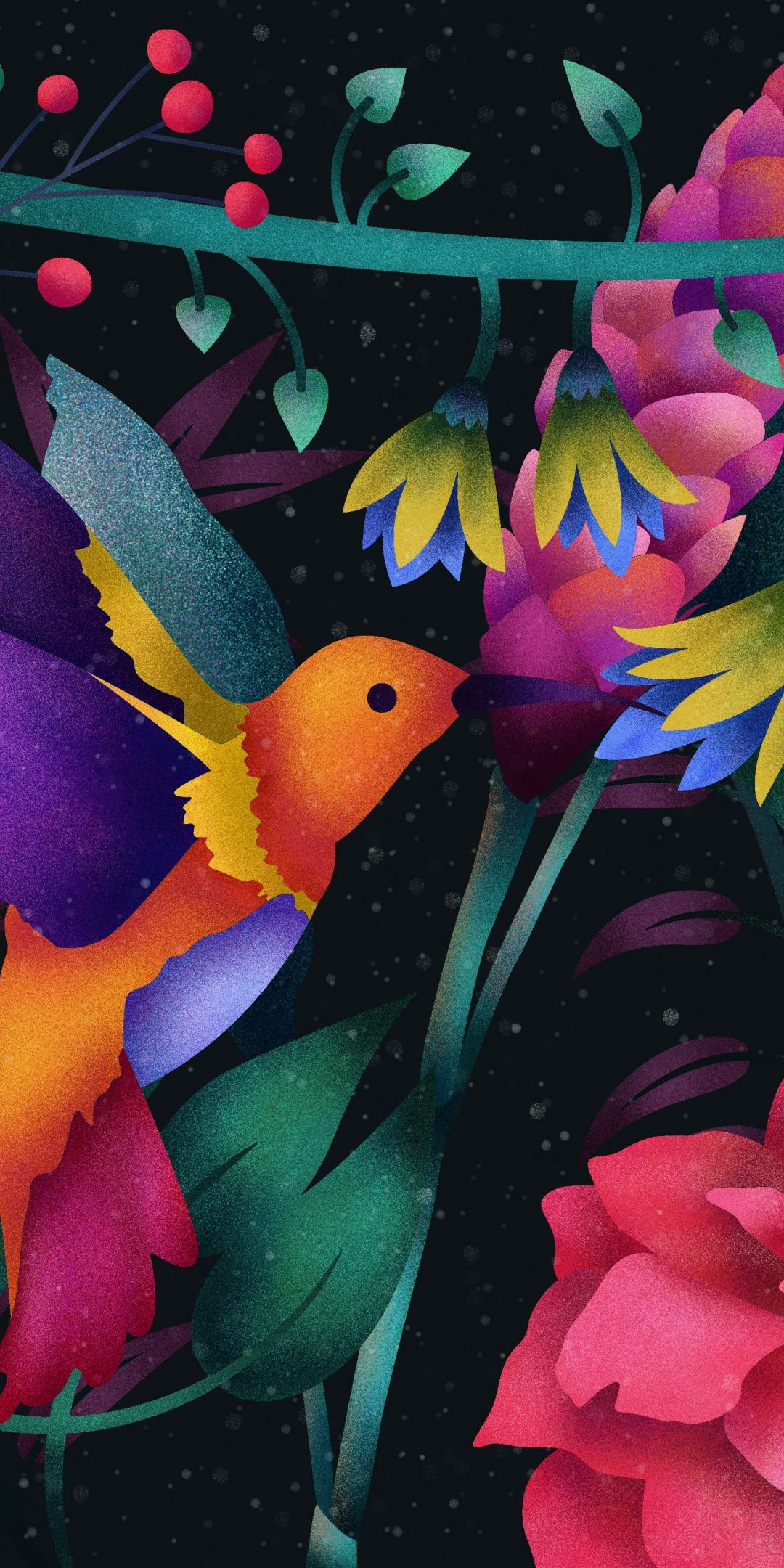 Hummingbird Abstract Colorful Flowers 1080x2160 Wallpaper Flower Art Flower Illustration Hummingbird Wallpaper