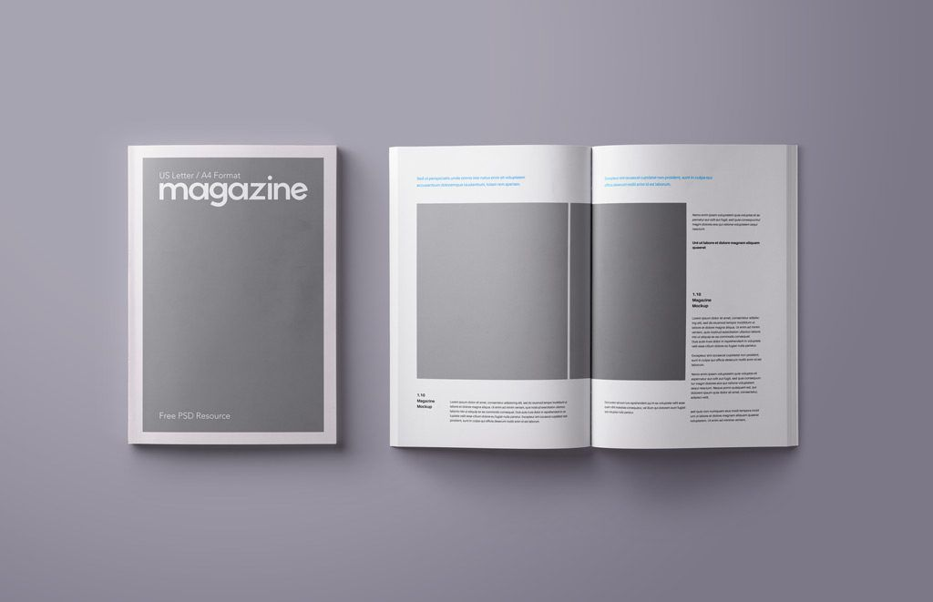 A Mockup Of An Open And Closed A4 Amp Us Letter Sized Magazine Fully Layered High Res Psd Fil Magazine Mockup Magazine Mockup Free Magazine Mockup Psd Free
