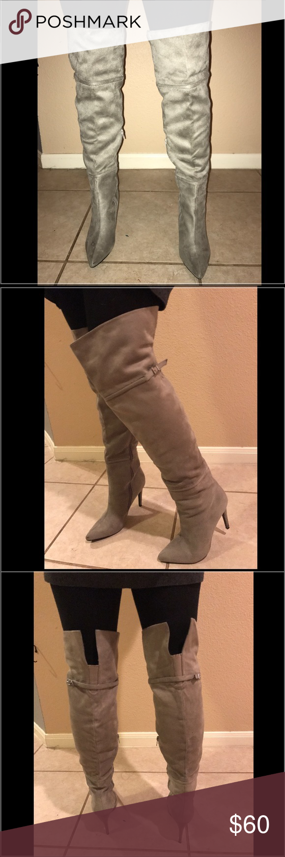 "Brand New Chinese Laundry Over the Knee Boots New Chinese Laundry Center Stage suede over the knee boots bought for $130 heel 3 3/4"" shaft 17 1/2"". Model is 5'2"". Chinese Laundry Shoes Over the Knee Boots"