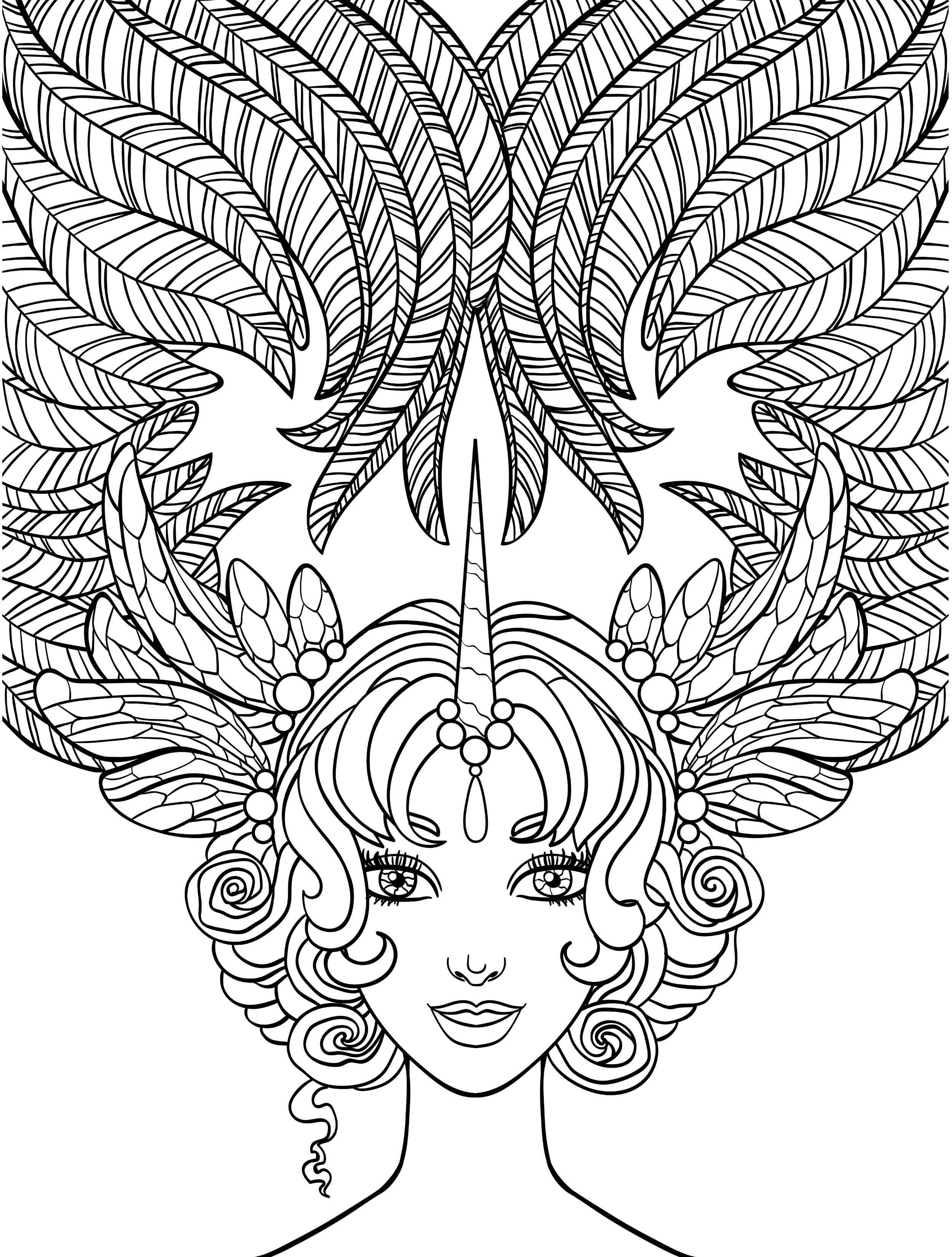 Crazy Hair Lady Coloring Page For Adults Free Download Coloring
