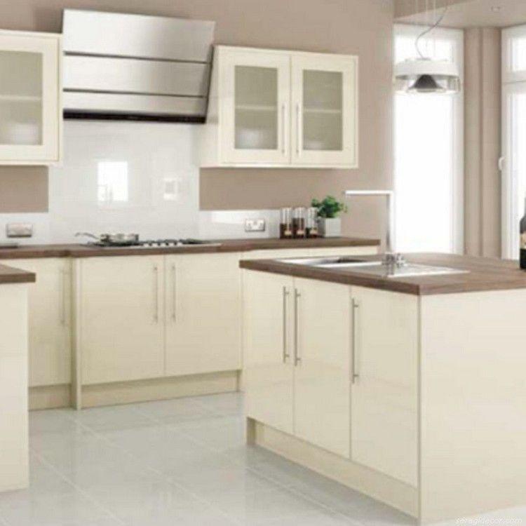 Modern Cream Painted Kitchen Cabinets, Gloss Cream Kitchen Cupboards