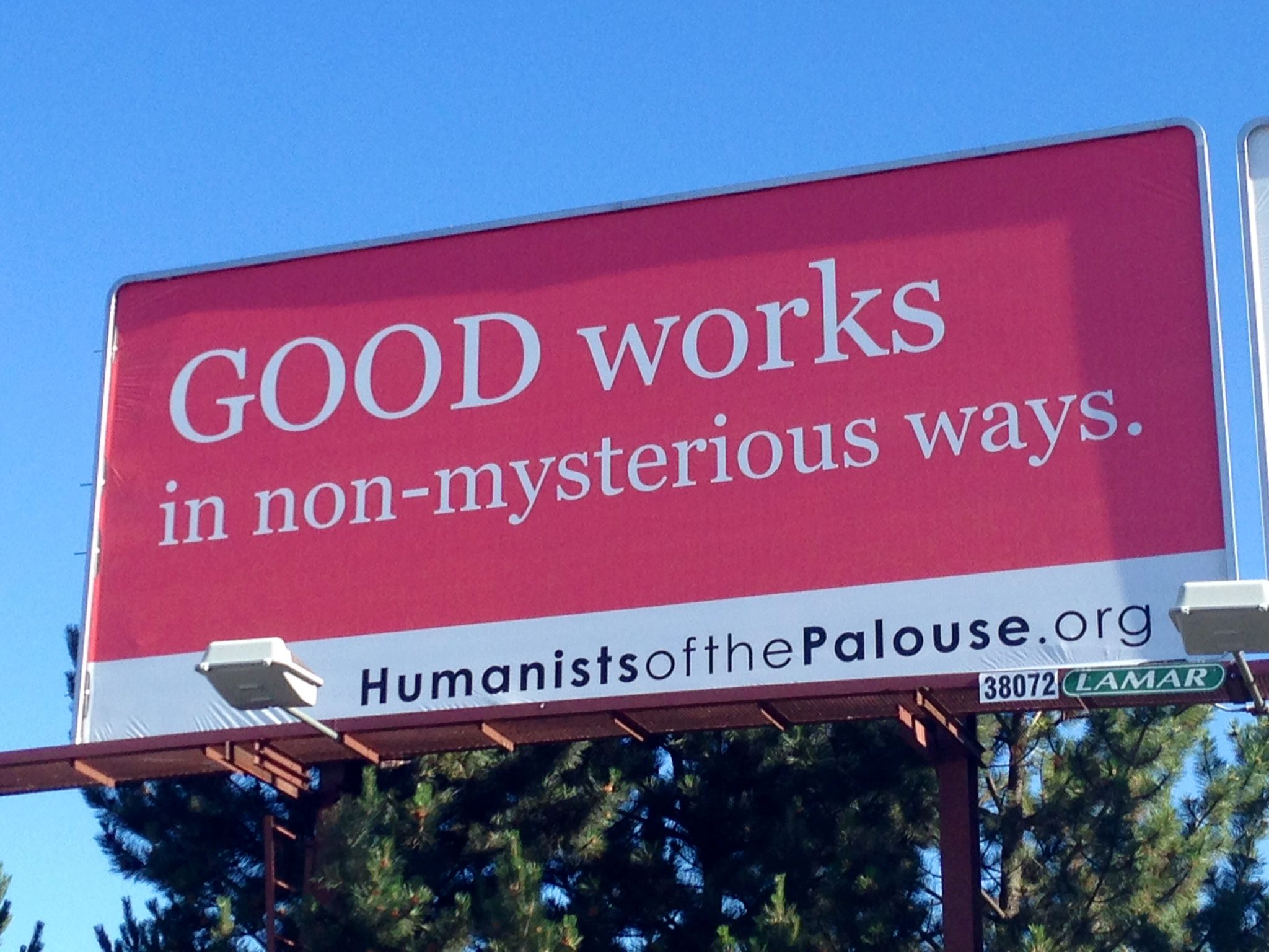 """Latest Godless Billboard in the Palouse Emphasizes """"Good Works in Non-Mysterious Ways"""""""