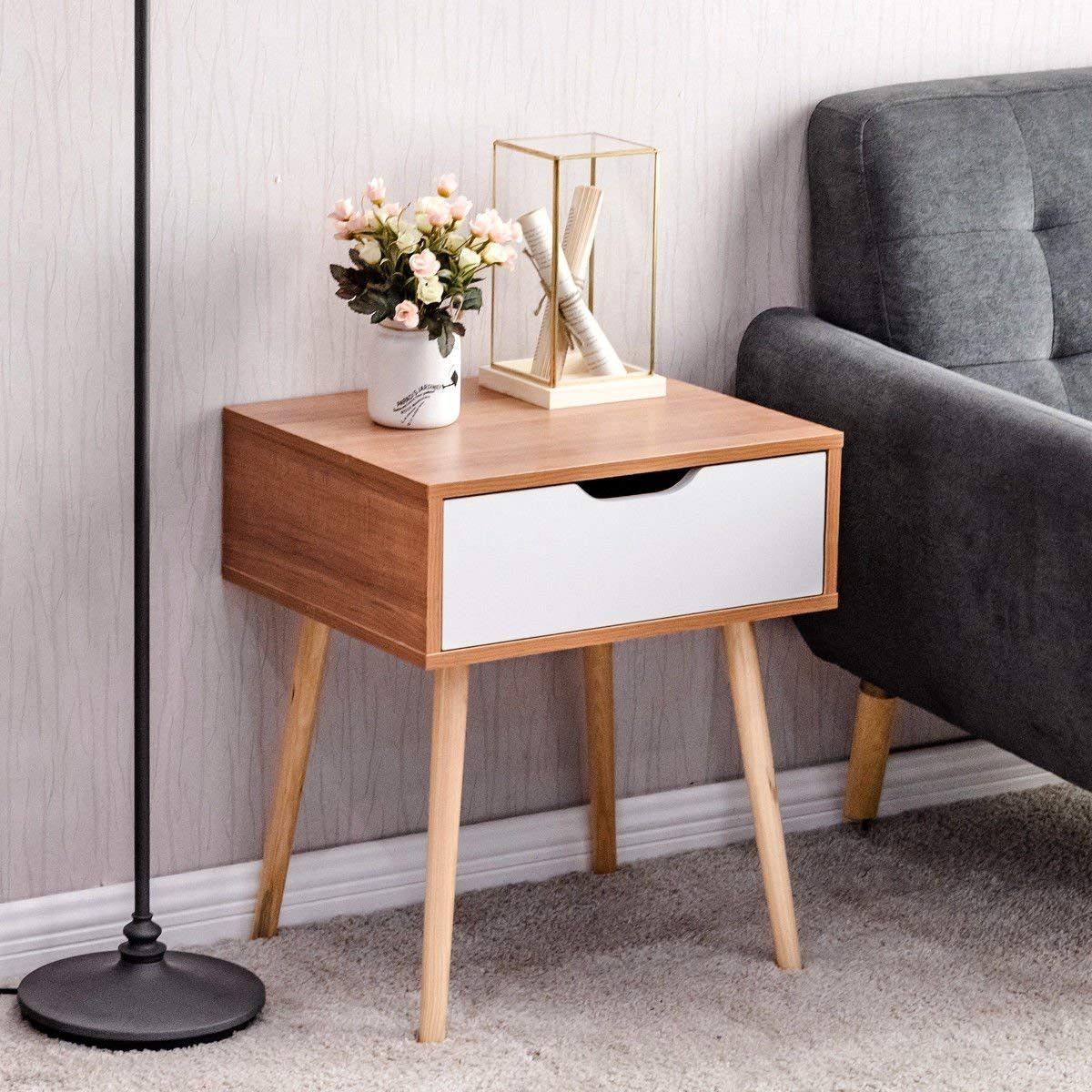 Set of 2 End Bedside Table Solid Wood Legs Nightstand with White Storage Drawer