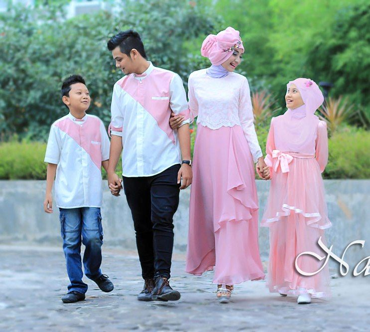 Model Baju Batik Sarimbit Untuk Pakaian Seragam Keluarga: Sarimbit Keluarga Gamis Pesta Sweet Family Peach Anggun