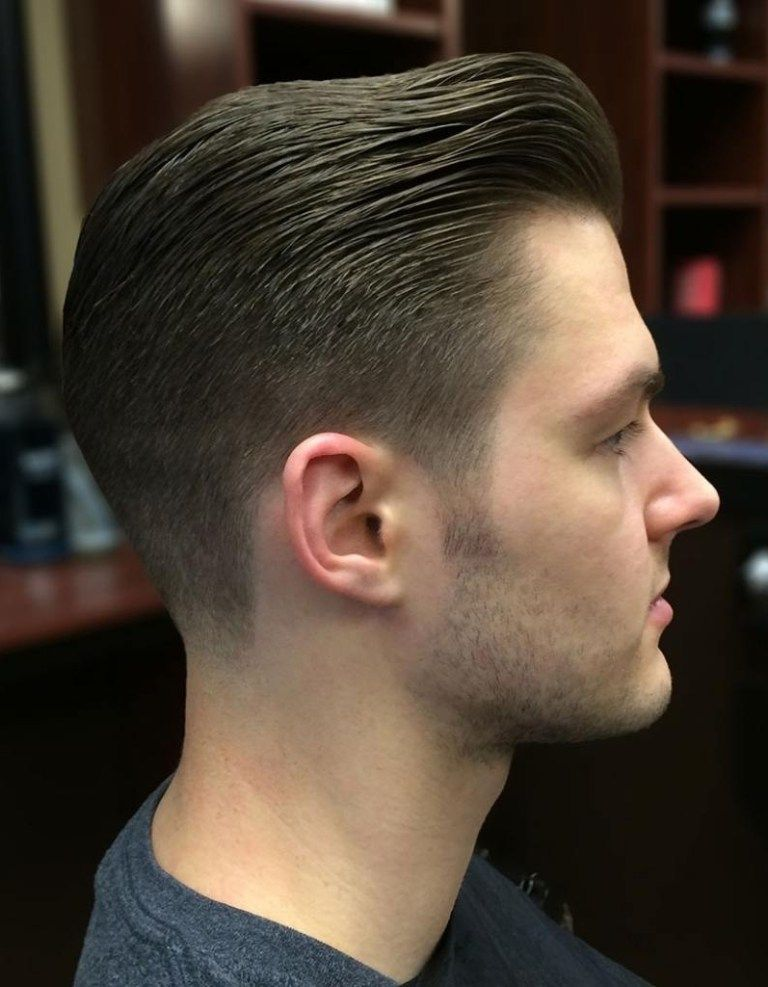 Slicked Back Pompadour Haircut With Thick Hair Pompadour Haircut