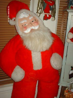 O M G My Husband Grew Up With This Same Santa Giant Rubber Faced Santa Vintage Santas Retro Christmas Santa Claus Is Coming To Town