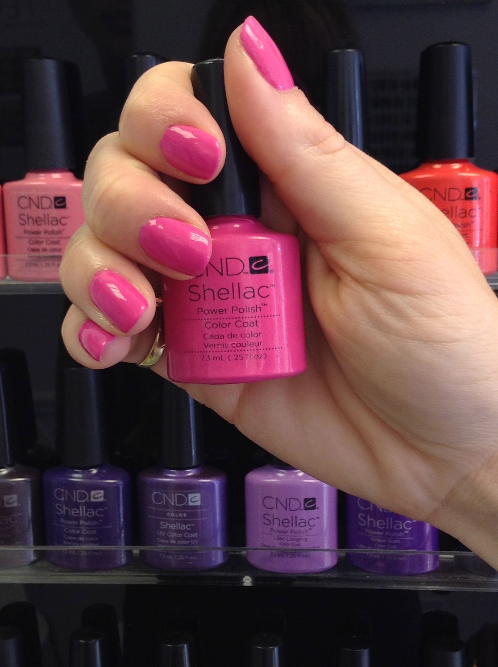 shellac hot pop pink www.theroyalebeautique.co.uk | nails