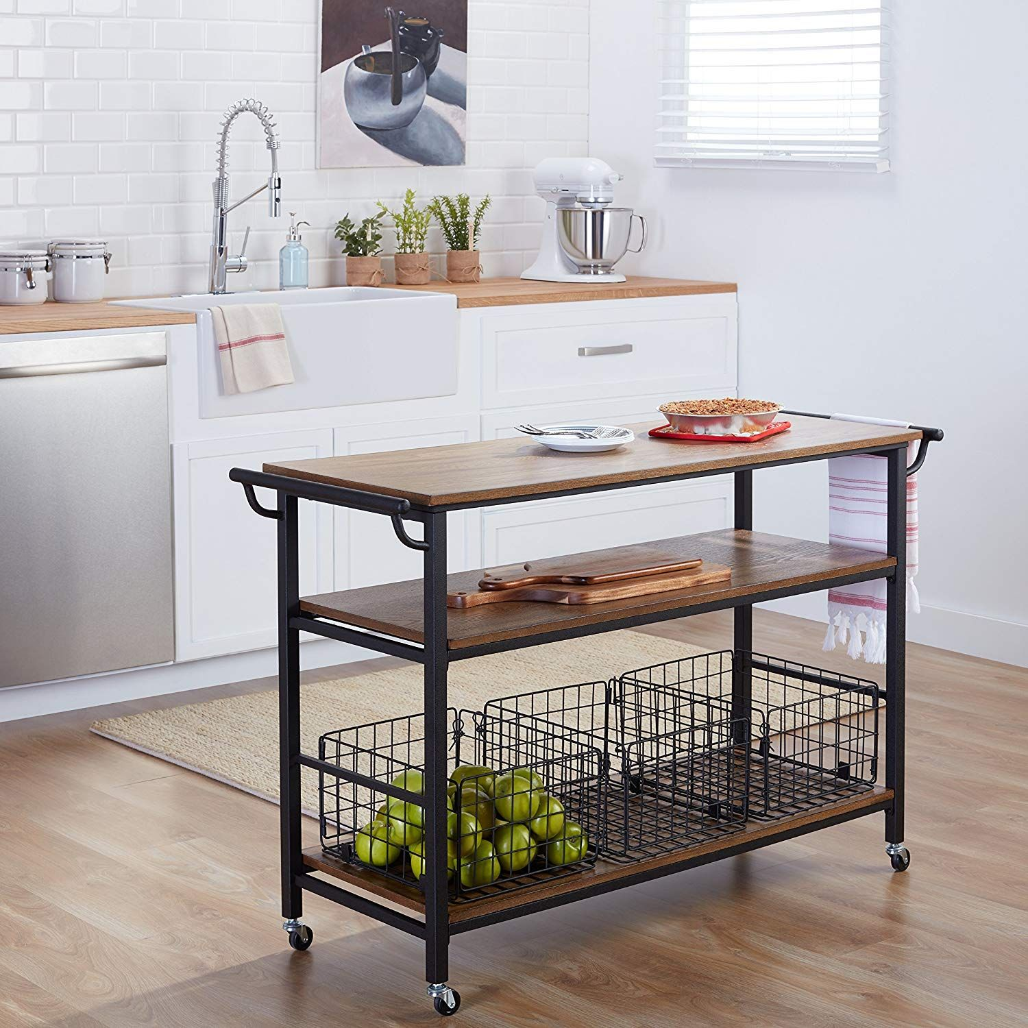 Industrial Rustic Wood Table Top Kitchen Cart With Metal Frame 3 Storage Baskets And Shelf Includes Modhaus Li Rustic Kitchen Kitchen Design Kitchen Remodel