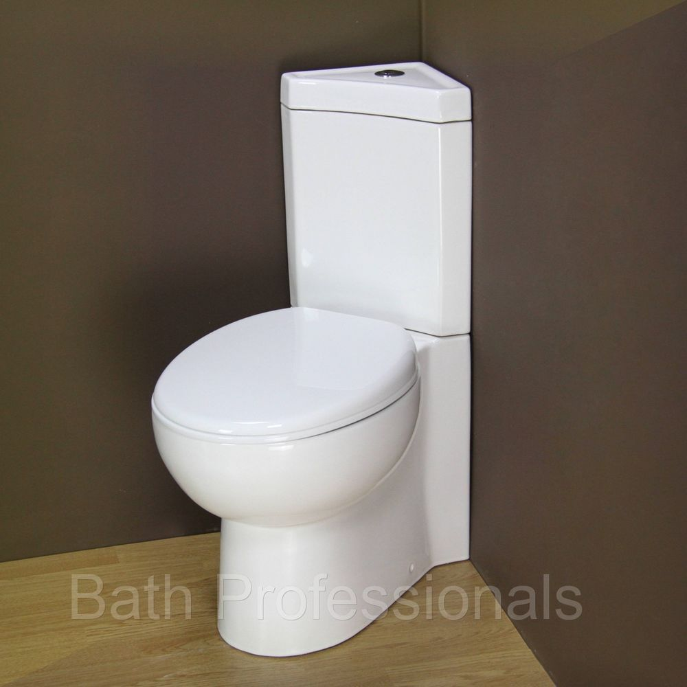 Details About Toilet Wc Corner Bathroom Close Coupled New Ceramic Soft Closing Seat Cloakroom