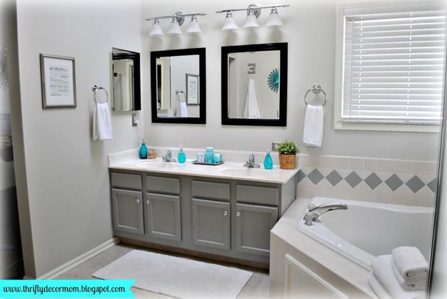 38 Stunning Gray Bathrooms With Accent Color Ideas Bathroomscolor Aqua Bathroom Decor Gray Bathroom Decor Turquoise Bathroom