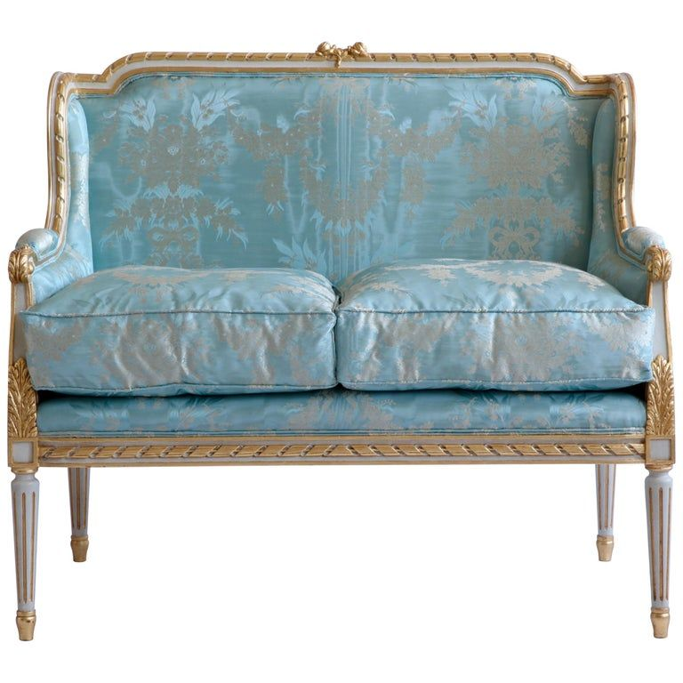 Louis Xvi Style Sofa In 2020 French Antiques Bright Colored Furniture Antique Sofa