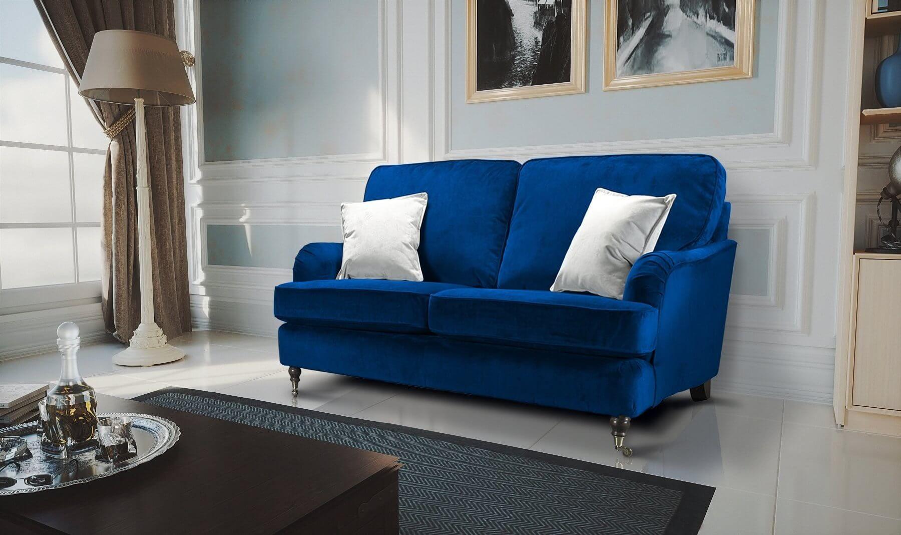 Velvet Marine Blue 2 Seater Astbury Bella Sofa In 2020 Sofa 3 Seater Sofa 3 Seater Sofa Bed