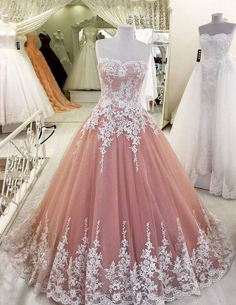 Blush pink prom dresslace tulle prom dresseshigh quality