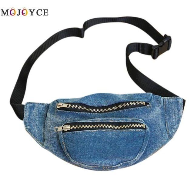 55b012fbfb0 Women Denim Waist Bag Adjustable Strap Girls Fashion Lady Zipper ...