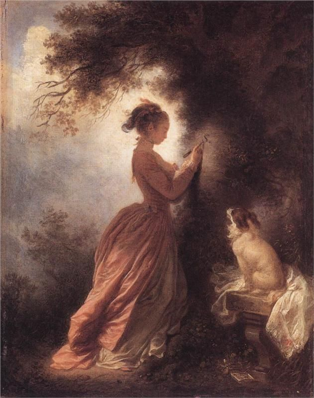 Page: The Souvenir  Artist: Jean-Honore Fragonard  Start Date: 1775  Completion Date:1778  Style: Rococo  Genre: genre painting  Technique: oil  Material: canvas  Dimensions: 19 x 19 cm  Gallery: Wallace Collection