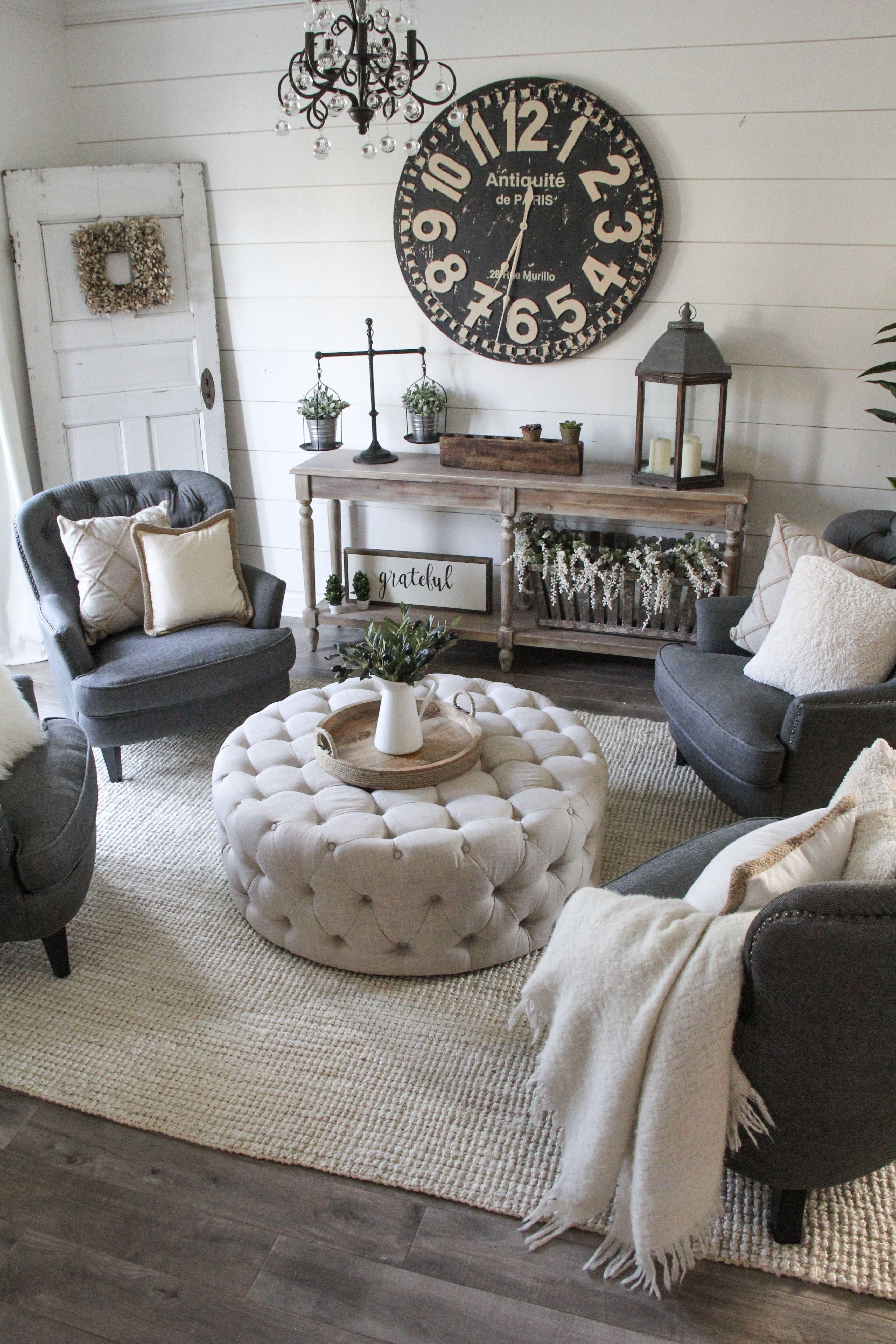 Idea For Sitting Area Love The Ottoman Rustic Living