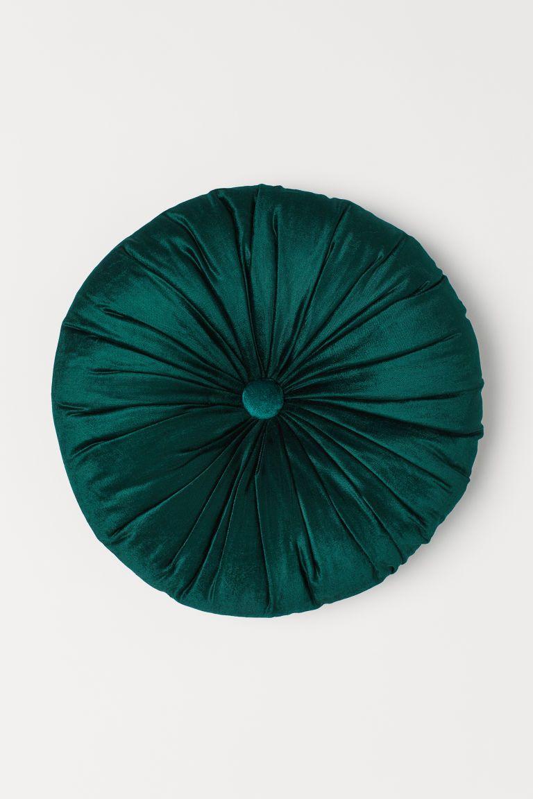 Round Velvet Cushion in 2020 Velvet cushions, Green