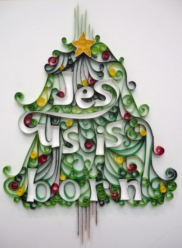 Quilled christmas tree card