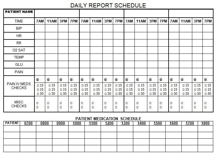 Daily report schedule nursing pinterest nurse brain for Nursing time management template