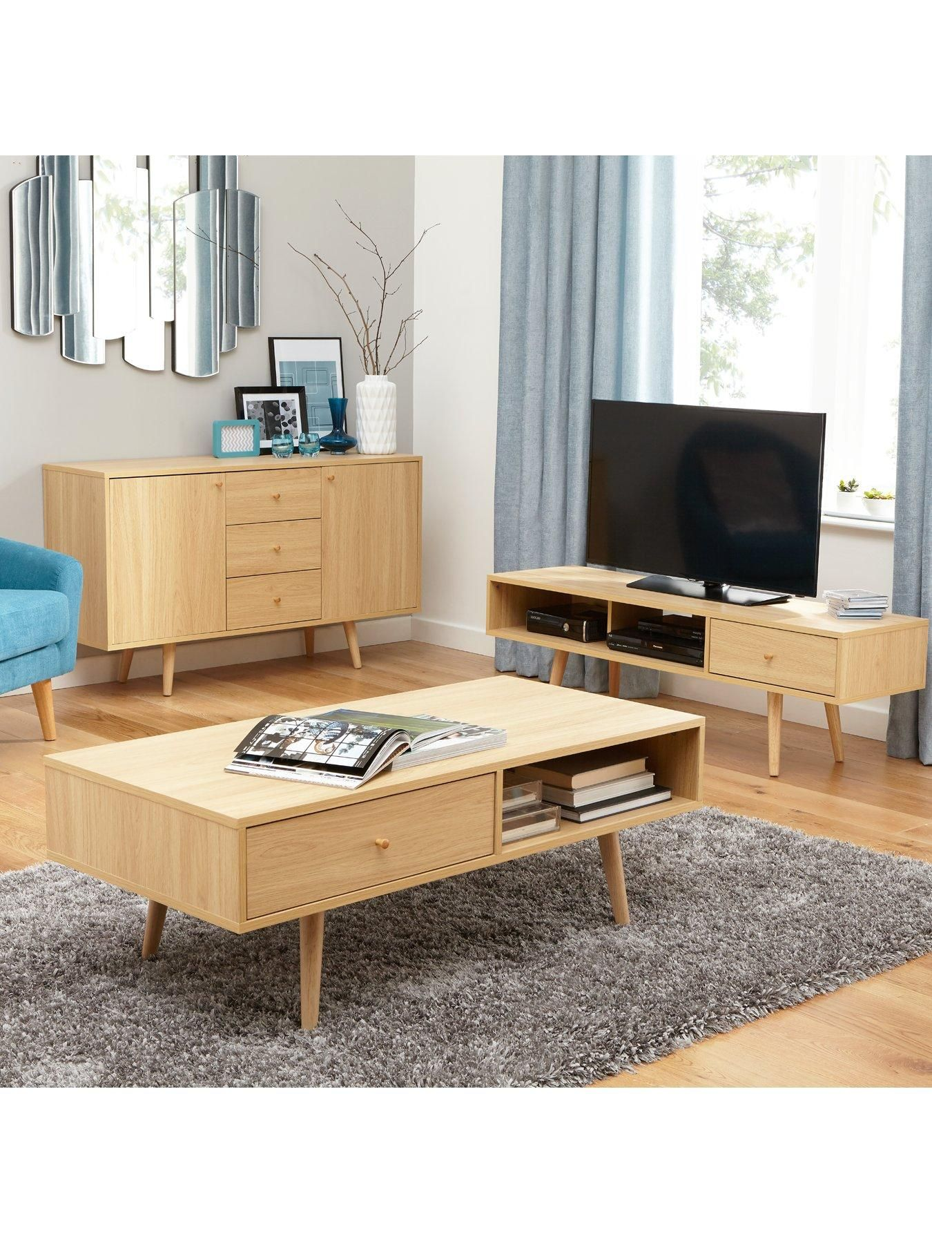 Ideal Home Monty Retro Tv Unit Fits Up To 60 Inch Tv Oak Effect  # Meuble Tv Kavehome