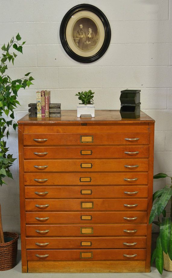Vintage Oak Blueprint Cabinet Storage Wood Art Flat Doent Map Salvaged On Etsy 1 399 99