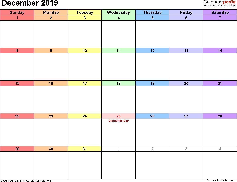 December 2019 Calendars For Word Excel Amp Pdf Dowload