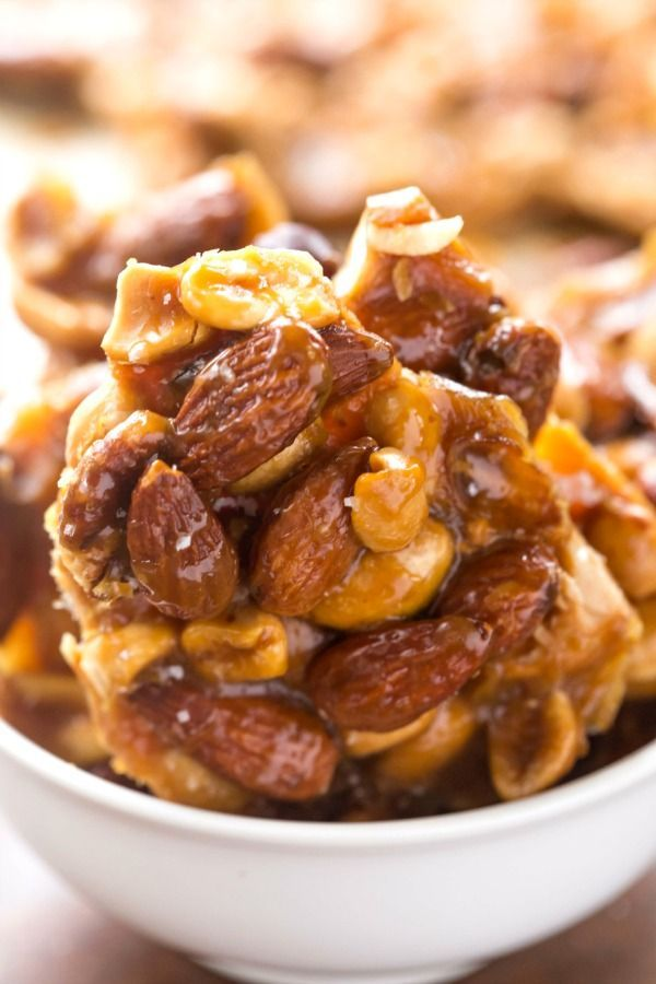 Salted Vanilla Caramel Nut Brittle - so easy and so good! No candy thermometer necessary!