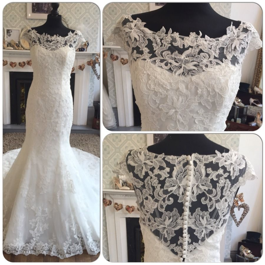 Intuzuri Dana Vintage Lace Fishtail Low Back Wedding Dress