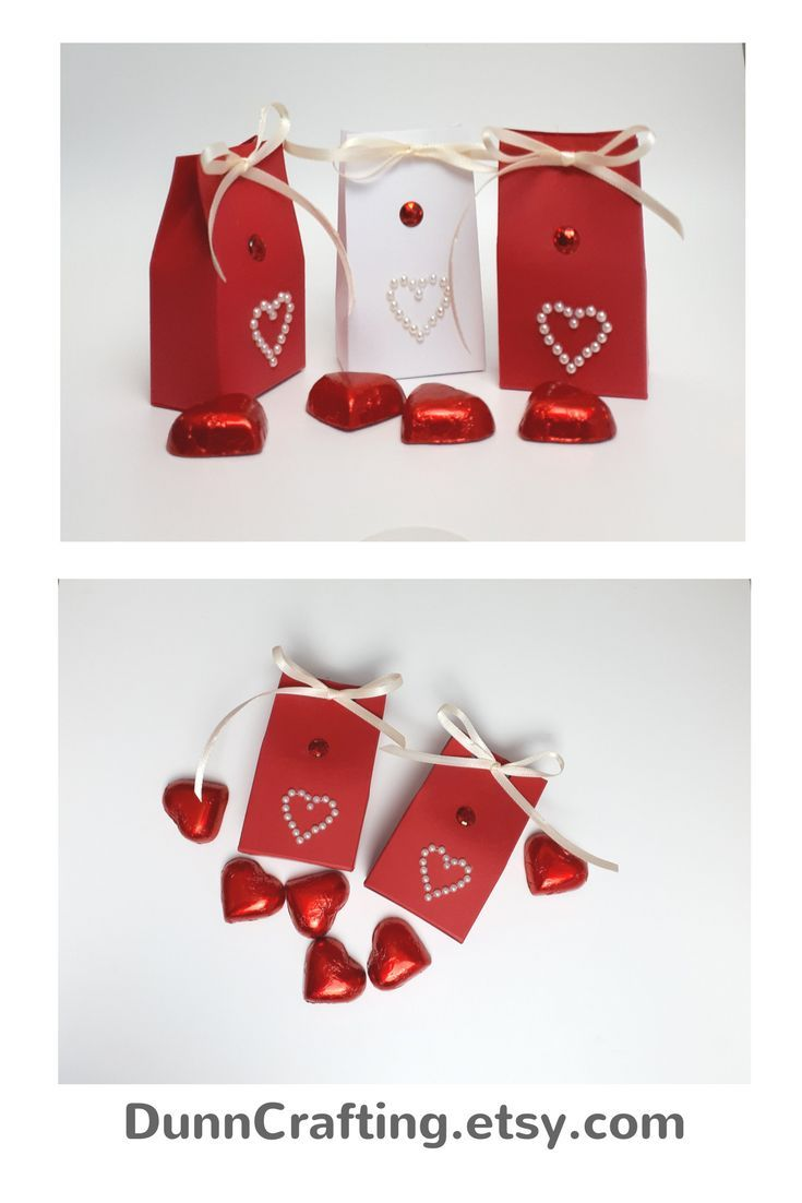 Valentines day gift, gift boxes, red and white favors, party favour ...