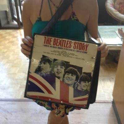 The Beatles vinyl record purse. Gray.
