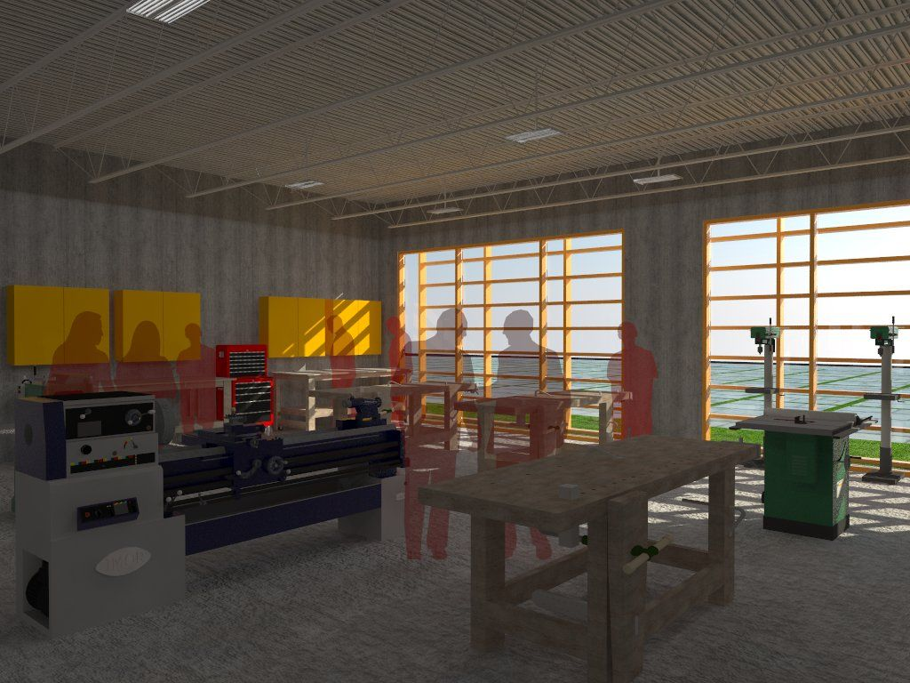 una vista de la propuesta para el taller de carpintería que aloja a 27 alumnos y 1 maestro artesano y un ayudante